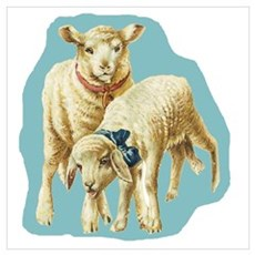 Easter Spring Lambs Blue Poster