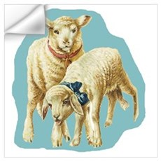 Easter Spring Lambs Blue Wall Decal