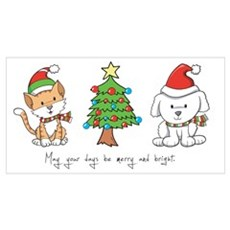 Cat and Dog Christmas Poster
