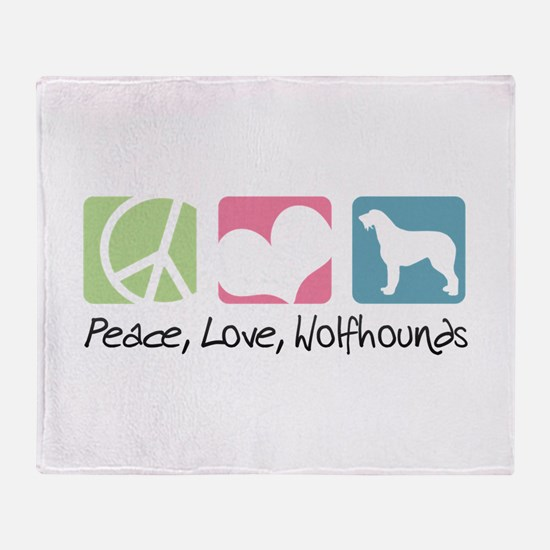 Peace, Love, Wolfhounds Throw Blanket
