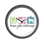 Peace, Love, Wolfhounds Wall Clock