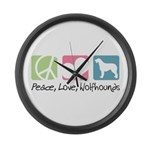 Peace, Love, Wolfhounds Large Wall Clock