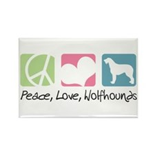 Peace, Love, Wolfhounds Rectangle Magnet
