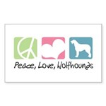 Peace, Love, Wolfhounds Sticker (Rectangle 50 pk)