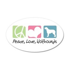 Peace, Love, Wolfhounds 22x14 Oval Wall Peel