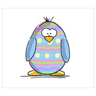 Blue Easter Egg Penguin Poster