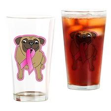 Pink Ribbon Fawn Pug Drinking Glass