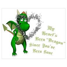 Broken Heart Dragon Poster