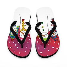 Snowmen in a line Flip Flops