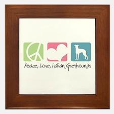 Peace, Love, Italian Greyhounds Framed Tile