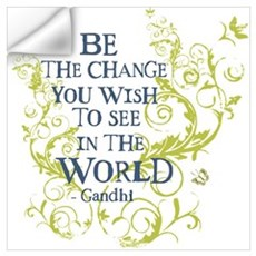 Gandhi Vine - Be the change - Blue & Green Mini Po Wall Decal