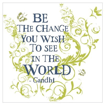 Gandhi Vine - Be the change - Blue & Green Mini Po Canvas Art