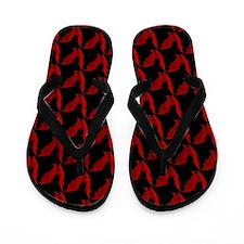 Bats Red on Black Flip Flops