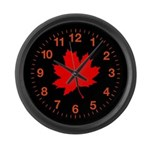 Red Leaf Large Wall Clock