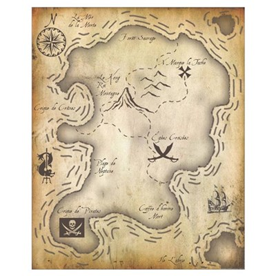Pirate Map 16x20 Framed Print