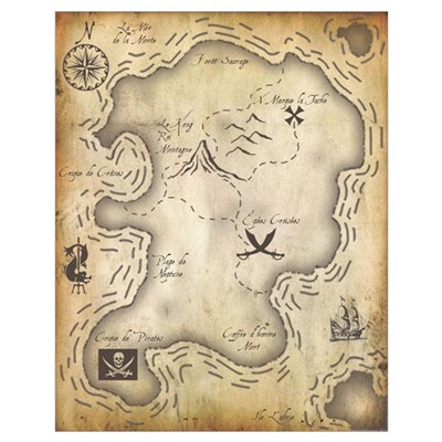 Pirate Map 16x20 Poster