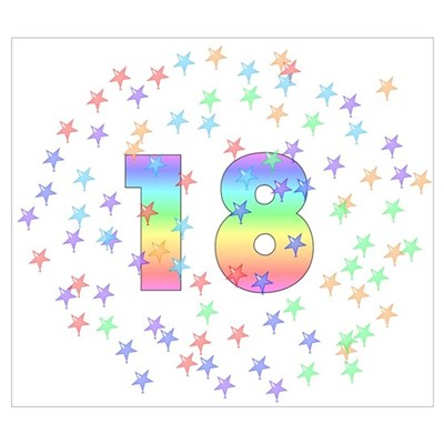 18th Birthday Pastel Stars Canvas Art