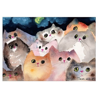 Moon Viewing Cats Canvas Art