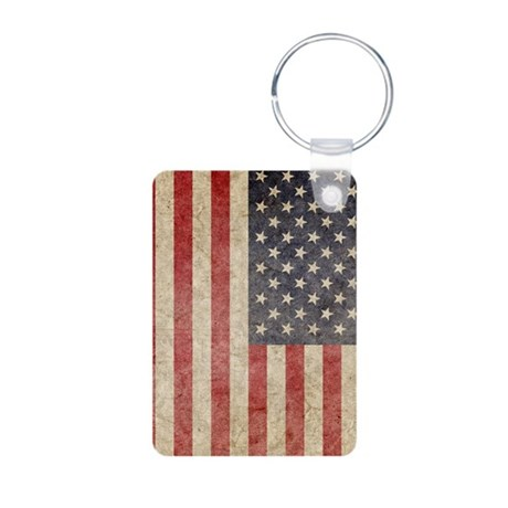 US Faded Flag Aluminum Photo Keychain