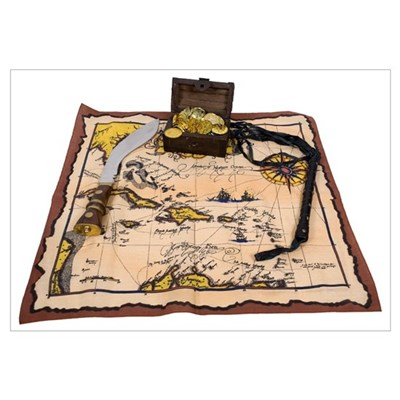 Pirate Map Treasure Canvas Art