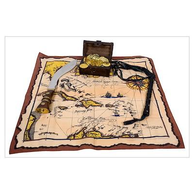 Pirate Map Treasure Poster