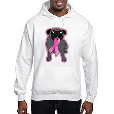Pink Ribbon Black Pug Hoodie