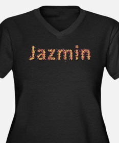 Jazmin Fiesta Women's Plus Size V-Neck Dark T-Shir
