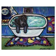 Black Labrador whimsical bath Poster