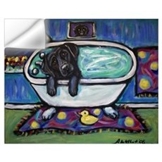 Black Labrador whimsical bath Wall Decal