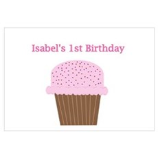 Isabel's First Birthday Cupca Poster
