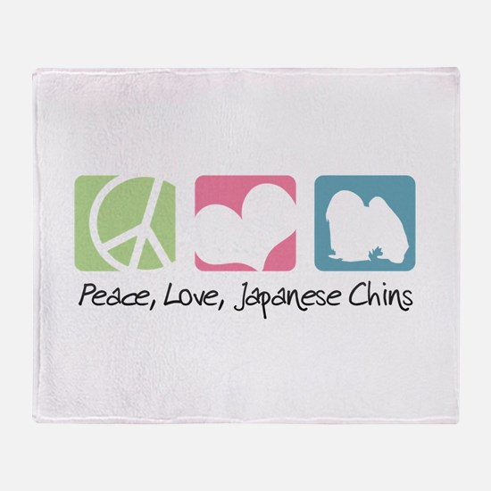 Peace, Love, Japanese Chins Throw Blanket
