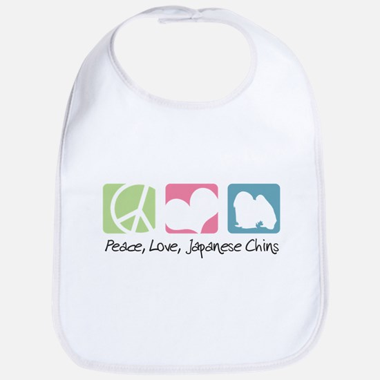 Peace, Love, Japanese Chins Bib