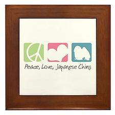 Peace, Love, Japanese Chins Framed Tile