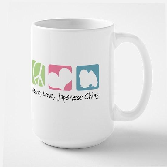Peace, Love, Japanese Chins Large Mug