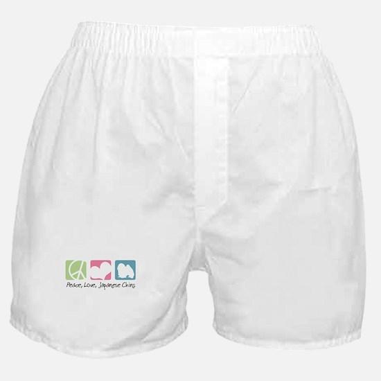 Peace, Love, Japanese Chins Boxer Shorts