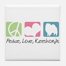 Peace, Love, Keeshonds Tile Coaster