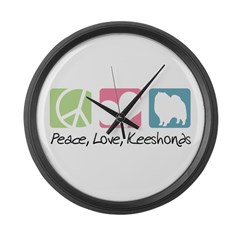 Peace, Love, Keeshonds Large Wall Clock