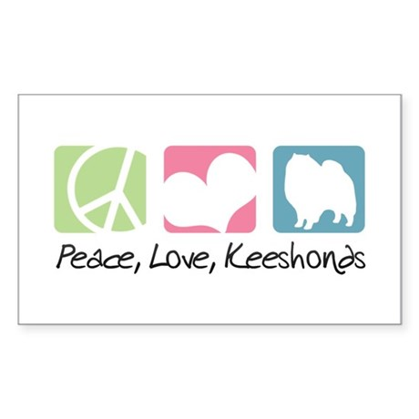 Peace, Love, Keeshonds Sticker (Rectangle)