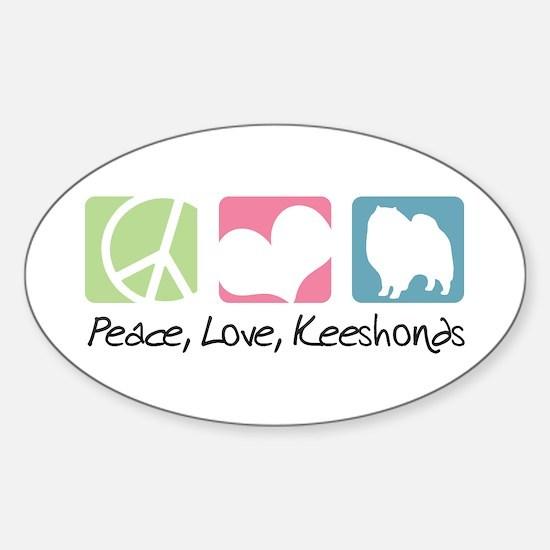 Peace, Love, Keeshonds Sticker (Oval)