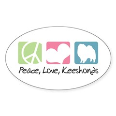 Peace, Love, Keeshonds Sticker (Oval 50 pk)