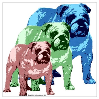 3 Color Bulldogs Design Poster
