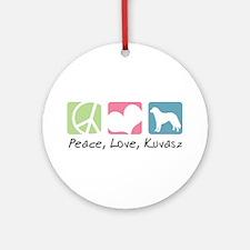 Peace, Love, Kuvasz Ornament (Round)