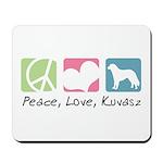 Peace, Love, Kuvasz Mousepad