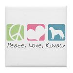 Peace, Love, Kuvasz Tile Coaster