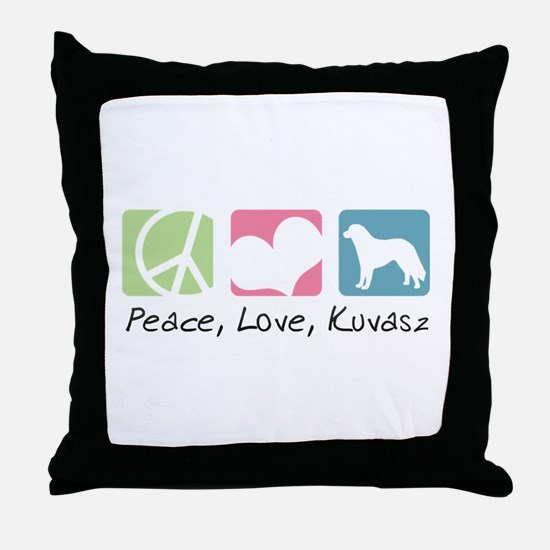 Peace, Love, Kuvasz Throw Pillow