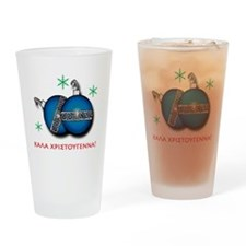 """""""MERRY CHRISTMAS"""" IN GREEK Drinking Glass"""