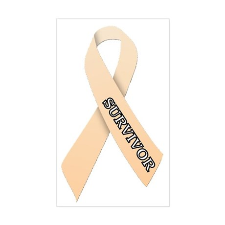 Peach Ribbon 'Survivor' Sticker (Rectangle)