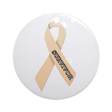 Peach Ribbon 'Survivor' Ornament (Round)