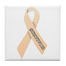 Peach Ribbon 'Survivor' Tile Coaster