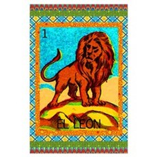 Vintage Loteria Lion Poster